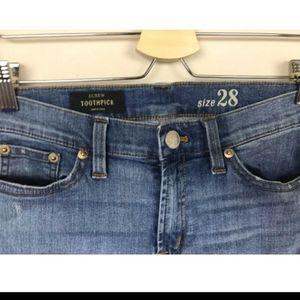 J. Crew Jeans - J.CREW Denim Toothpick Patch Skinny SZ 28 blue
